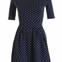 LOVE Navy Polka Dot 3/4 Sleeve Pleated Skirt Dress - Love