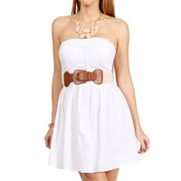 White Strapless Belted Eyelet Sundress