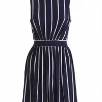LOVE Navy And Cream Stripe High Neck Jersey Dress - Love