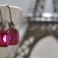 Hot Pink Estate Earrings, Vintage Glass Rhinestone, Gunmetal Lever Back, Fuschia Magenta Bridesmaid Earrings