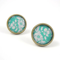 Teal and White Floral Pattern Earring Studs Bronze by MistyAurora