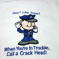 Apron Bib One Size with Ties Police Humor Don't like cops Embroidered