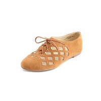 Sueded Laser-Cut Oxford Flat: Charlotte Russe