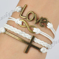 Love, Infinity & Cross Charm Bracelet--Antique Bronze,Wax Cords and Imitation Leather Braid Bracelet-Friendship gift-- B008