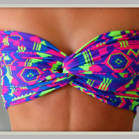 NEW  Neon Tribal Bandeau  Spandex Bandeau  Bandeau by Sidewalk616