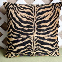 Zebra Print Pillow Cover in Tan and Black Chenille Home Decor Fabric