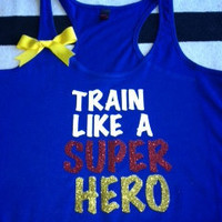 Train Like A Super Hero in Blue Racerback by RufflesWithLove