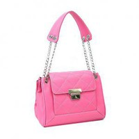 Quilted Pushlock Hot Pink Simulated Leather Tote