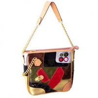 Patchwork Patent Chain Simulated Leather Tote