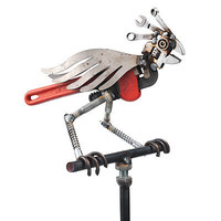 PERCHED PARROT | Recycled Metal Bird Sculpture | UncommonGoods