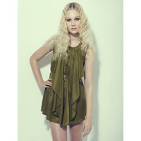 KIMI viscose sleeveless dress in OLIVE with by Cocottecouture