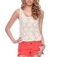 Betty Lace Tank Top in Cream :: tobi