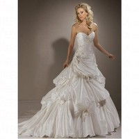Luxurious Spring 2012 Taffeta Asymmetrical Sweetheart Hourglass Wedding Dress