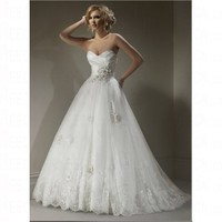 Spring 2012 Organza Strapless Bursh Train Dropped Church Wedding Dress
