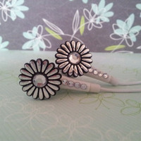 Metalic Daisy Earbuds with Swarovski Crystals by HoneyBadgerBuds