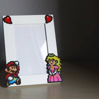 Super Mario Picture Frame - White Frame with Mario &amp; Peach - Horizontal or Vertical