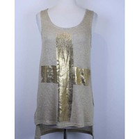 GOLD FOIL CROSS Top Tank High Low Hem Shirt Ladies Womens FASHION TRENDY