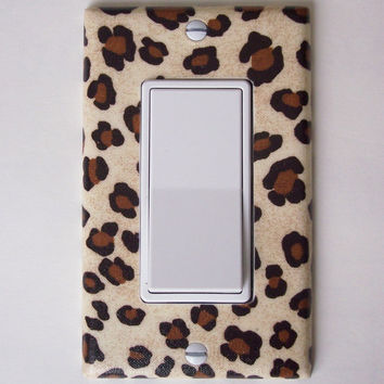 Cheetah Animal Print Single Rocker / GFI Switch Plate, wall decor switchplate outlet