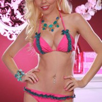 FUCHSIA TEAL MINI RUFFLE TEAL BOW PUCKER BACK BIKINI @ Amiclubwear Two-piece swimsuits Online Store,two-piece swimsuits,tank suit,leotard,simply two-piece,bikini,sheer bikini,thong swimsuit,sling bikini,pretzel suit,two piece swimming suits,2-piece swimsu