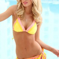 YELLOW MELON TWO TONE LACE RUFFLE SCRUNCH BUTT SWIMSUIT @ Amiclubwear Two-piece swimsuits Online Store,two-piece swimsuits,tank suit,leotard,simply two-piece,bikini,sheer bikini,thong swimsuit,sling bikini,pretzel suit,two piece swimming suits,2-piece swi
