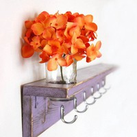 PURPLE wood shelf Cottage Shabby wall SILVER HOOKS by OldNewAgain