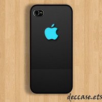 IPHONE 5 CASE - Mint apple iPhone logo on black - iPhone 4 case,iPhone 4S case,iPhone caseHard Plastic Case Rubber Case