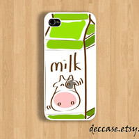 IPHONE 5 CASE - Cow Milk Box - iPhone 4 case,iPhone 4S case,iPhone caseHard Plastic Case Rubber Case