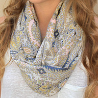 Silk Infinity Scarf, Circle Scarf, Eternity Scarf, Peach, Grey, Yellow, Cream