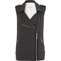 Grey sleeveless biker vest - vests / vests - coats / jackets - women