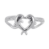 Amazon.com: Nickel Free Sterling Silver Toe Ring Diving Dolphin Heart Toerings: Jewelry