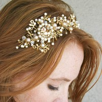 Wedding tiara, wedding headband, Vintage dream golden tiara, bridal hair, wedding accessory