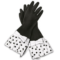 Gloveables Black With Black &amp; White Polka Dots &amp; Bow Dish Gloves