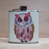 Whimsical Woodland Owl Flask