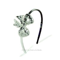 Silver Sequin Bling Bow Headband - Unique Vintage - Cocktail, Evening, Pinup Dresses