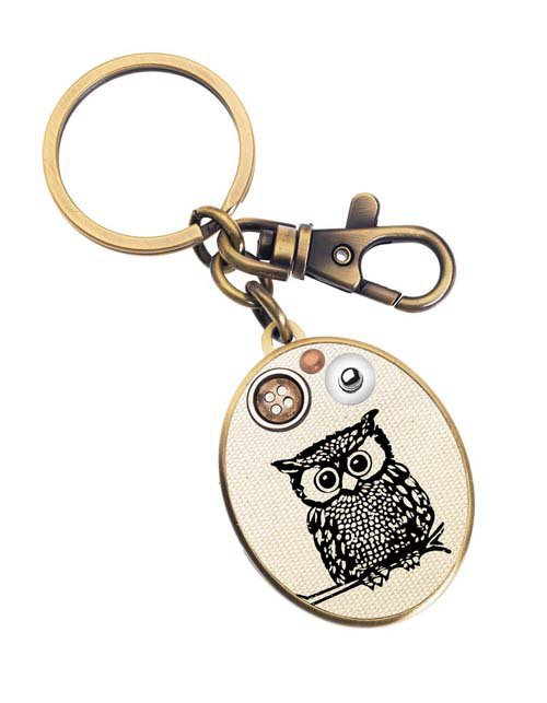Glam Naturale Gold Metal Owl Keychain - Unique Vintage - Cocktail, Evening, Pinup Dresses