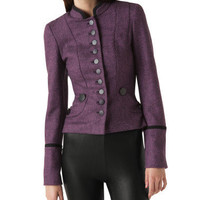 Colorful Tweed Military Jacket - Betsey Johnson
