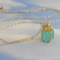 Tiny present necklace Tiffany blue gift box by WinterberryJewelry
