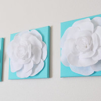 Tiffany Blue -SET OF THREE White Roses on Bright Aqua Solid 12 x12&quot; Canvas Wall Art- Home Decor