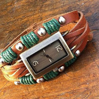 Wrap-around Leather Watch / Antiqued Bronze Rectangle-shaped Watch / Leather Bracelet Watch / Adjustable