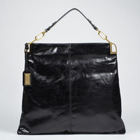 Gaia Shine Slouchy Leather Tote by Badgley Mischka
