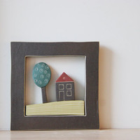 Ceramic Greek cottage with tree, stoneware wall hanging of a house and tree in  a square frame