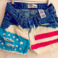 American Flag High Waisted Denim Shorts Custom Made Jean Shorts Hipster Tumblr