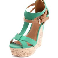 Color Block Nubuck Cork Wedge: Charlotte Russe