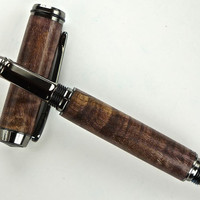 Handcrafted Wooden Pen Hand Turned Stabilized and Dyed Purple Curly Spalted Maple Gun Metal Hardware 417U