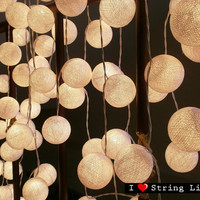35 White Cotton Ball Set String Lights For Wedding and House decoration (35 balls/Set)