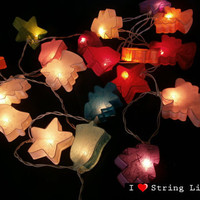 Christmas Tree Mulberry Paper Party Mixed Color Set String Lights For Wedding and House decoration (20 Flowers/Set)