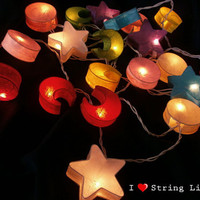 The Universe Mulberry Paper Party Mixed Color Set String Lights For Wedding and House decoration (20 Flowers/Set)