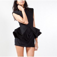 Oak | sally lapointe black peplum mini dress Oak
