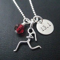 Sterling Silver GIRLS RUN DISTANCE with CRYSTAL or PEARL - Choose your Crystal or Pearl - Choose either RUN, 5K, 10K, 13.1 or 26.2 - Sterling silver pendants with Sterling or Leather and Sterling Chain