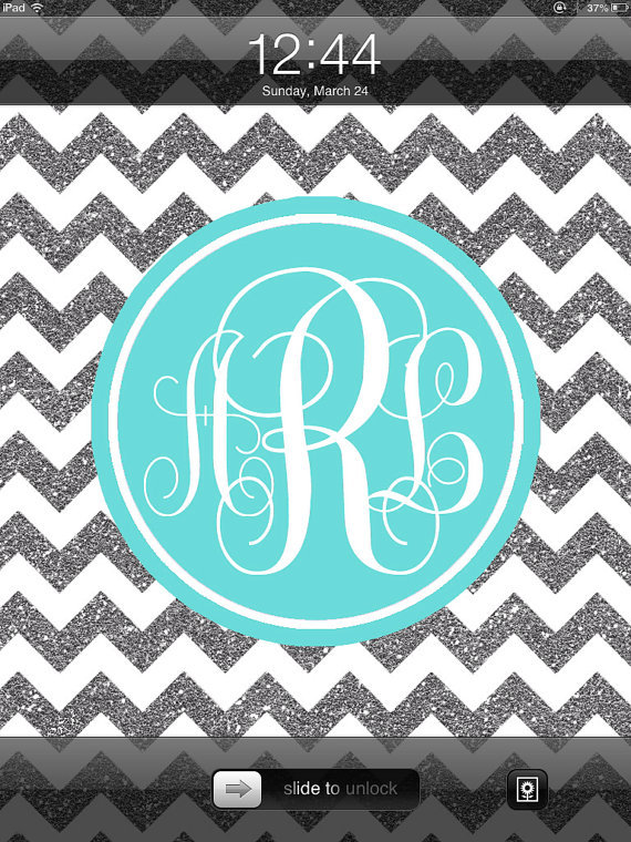 iPad Monogram Wallpaper Blue and Silver from nreese47 on Etsy